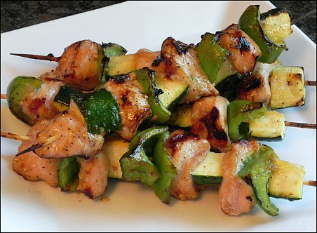soy honey grilled chicken kabobs