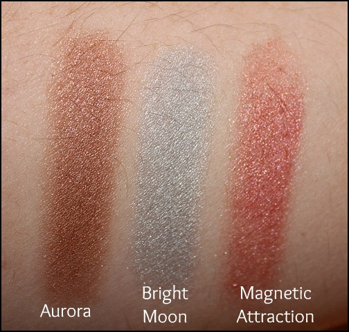 MAC aurora, bright moon, magnetic attraction swatches
